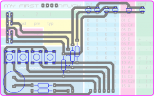my first brainfuck PCB